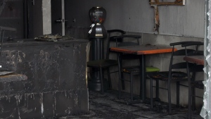A Molotov cocktail was thrown through the window of Gino Pizza in Pierrefonds Dec. 8, 2019.