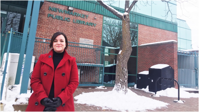 "Kayla Scott says her six-year-old daughter was the victim of gender discrimination after an ""upsetting"" incident at the Newmarket Public Library. (CTV News Toronto/Beth Macdonell)"