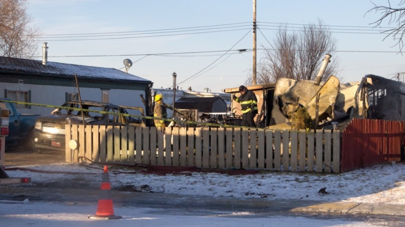 One man was killed in a residential trailer fire in Clyde, Alta., on Sunday, Dec. 8, 2019. A second person escaped, officials said. (Courtesy: Andreea Resmerita/Westlock News)