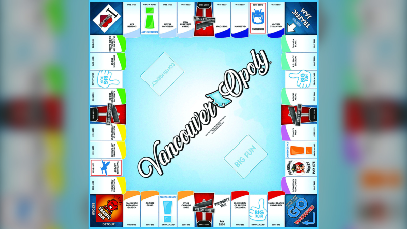The Vancouver-Opoly board game is shown.