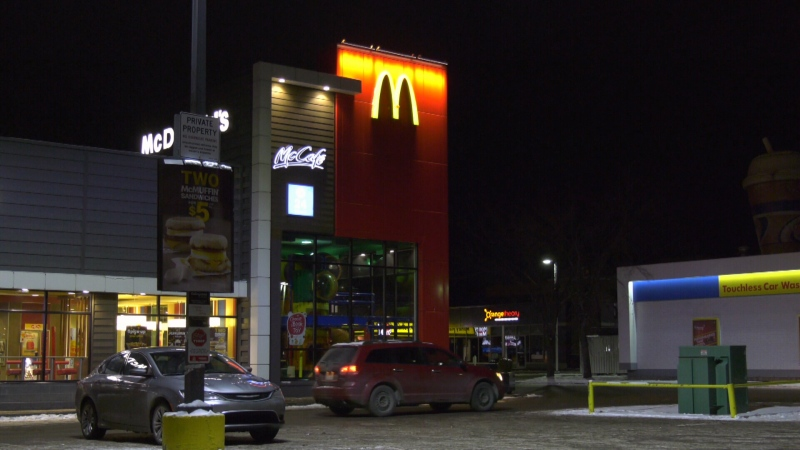 McDonalds in Callingwood area, where impaired driver was arrested in stolen vehicle. Sunday Dec. 8. 2019 (CTV News Edmonton)
