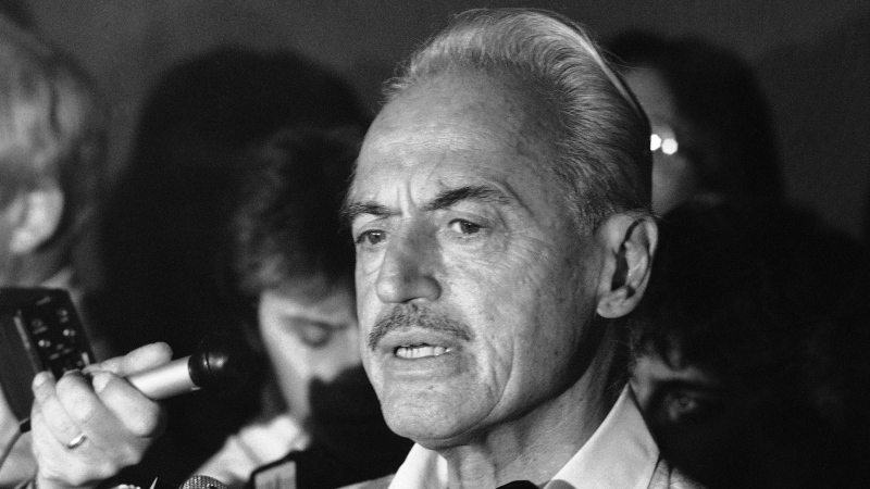 FILE - This July 16, 1981 file photo shows baseball union leader Marvin Miller speaking to reporters after rejecting a proposal to end a baseball strike, in New York. (AP Photo/Howard, File)