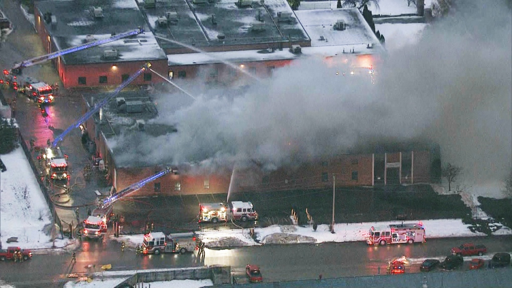 Large fire breaks out at industrial building in Schomberg