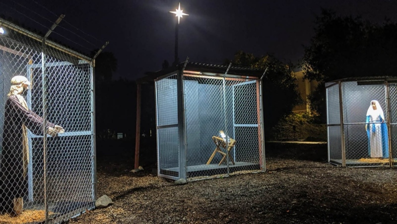 A California church is displaying a nativity scene depicting Jesus, Mary and Joseph as refugees in cages to draw attention to the conditions faced by migrants seeking asylum in the United States. (CNN/Pastor Karen Clark Ristine/Claremont UMO/Facebook)