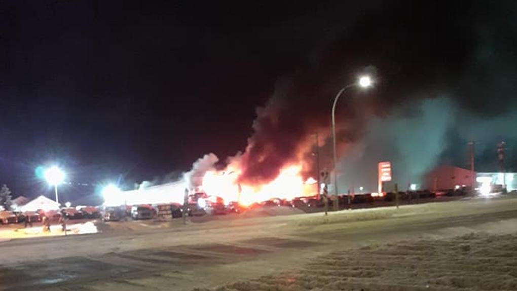 Fire burning at Edson Chrysler dealership