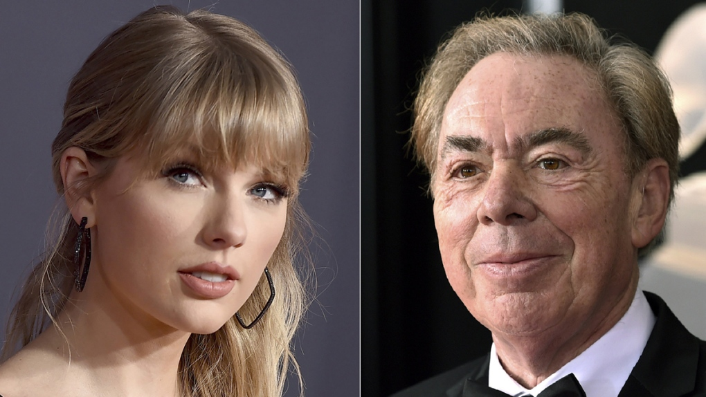 Taylor Swift, left, and Andrew Lloyd Webber