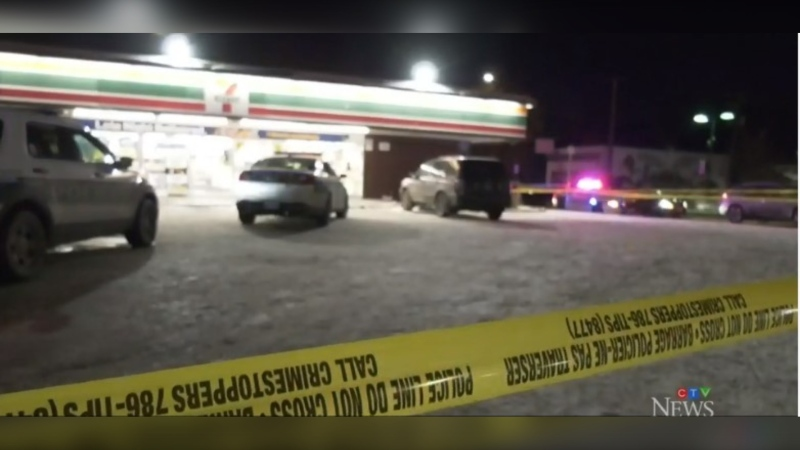 Police tape outside the 7-Eleven store at 815 Ellice Avenue in Winnipeg, following an officer-involved shooting of a robbery suspect, Nov, 21, 2019 (Image: CTV News Winnipeg)