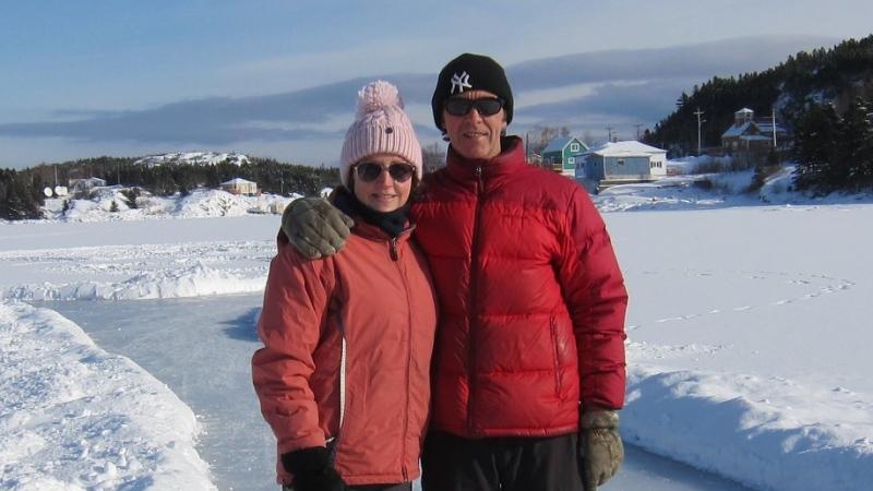 Georgina and Michael Parsons skate on the frozen water near Little Bay Islands. (Facebook/KintsugiLBI)