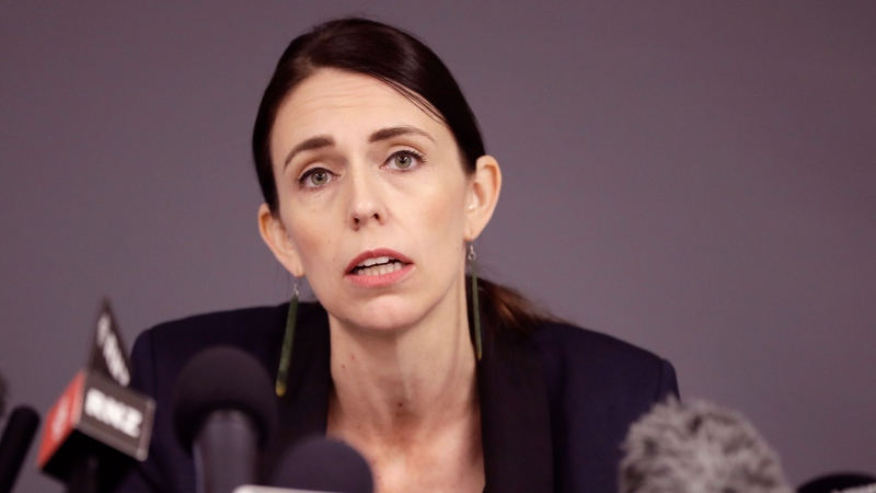 New Zealand Prime Minister Jacinda Ardern holds a press conference in Whakatane, New Zealand, Tuesday, Dec. 10, 2019. (AP Photo/Mark Baker)
