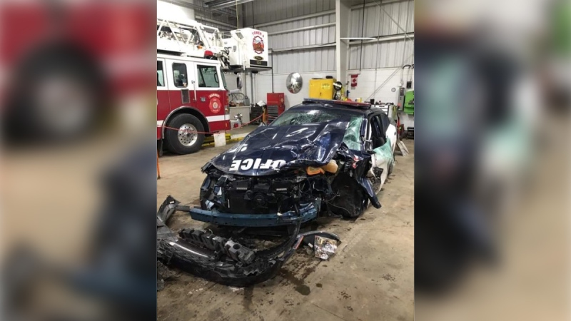 A damaged cruiser is seen after a crash in Sarnia, Ont. on Friday, Dec. 6, 2019. (Source: Facebook)