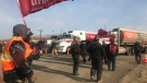 Locked out workers picket in front of Regina's Co-op Refinery (Cally Stephanow / CTV News Regina)