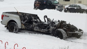 A pickup truck was destroyed by fire early in the morning on Dec. 9, 2019. (Credit: Terina Irwin)