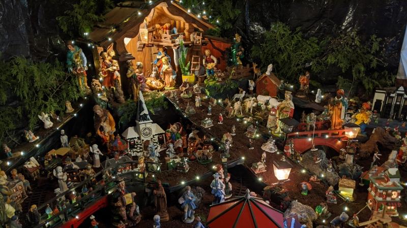 An elaborate Nativity scene is seen in a Strathroy, Ont. home on Monday, Dec. 9, 2019. (Joel Merritt / CTV London)