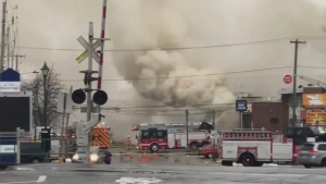 A fire broke out in Roxboro Monday afternoon (image: Tim Destunis)