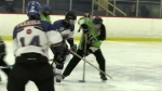 Boys hockey team faces off against girls ringette