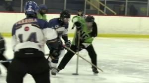 Boys hockey team faces off against girls ringette