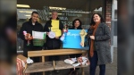 Members of the Poverty Reduction Team delivered a gift box to MLA Shane Simpson's office Monday, calling for policy change to reduce poverty in the province.