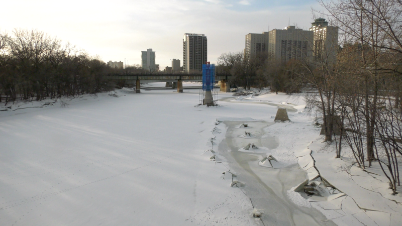 As of Monday evening, the level at the James Avenue gauge was sitting at 8.68 feet -- the lowest it's been since late September. (Source: Scott Andersson/ CTV News Winnipeg)