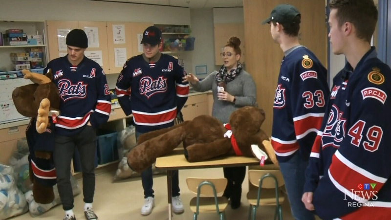Pats deliver teddys to kids at General Hospital