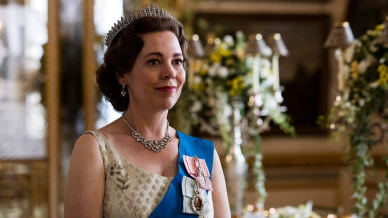 In this image released by Netflix, Olivia Colman portrays Queen Elizabeth II in a scene from the third season of 'The Crown.' (Sophie Mutevelian / Netflix via AP)