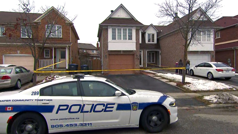 A Peel Regional Police cruiser is seen outside of a Brampton home. (CTV News Toronto)