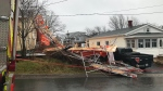 A new home under construction on Marvin Street in Dartmouth toppled under high winds on Dec. 10, 2019.