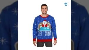 Twitter user @HurrbaSousJohn's screencapture image of the sweater for sale at www.Walmart.ca (source: Twitter / @HurrbaSousJohn)