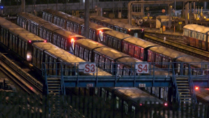 SkyTrains are shown early Tuesday morning, Dec. 10, 2019.