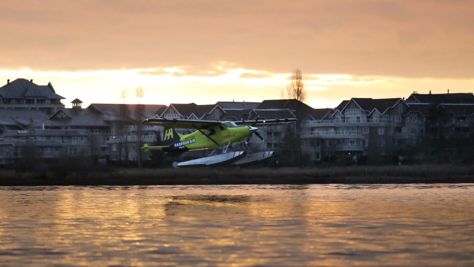 The e-plane test flight took off from the Richmond seaplane terminal Tuesday morning: (Harbour Air / Twitter)