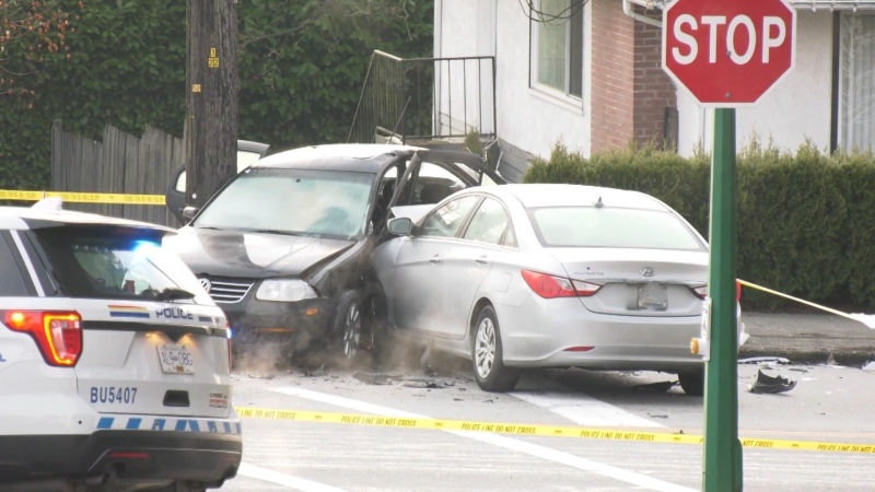 Burnaby's 10th Avenue was closed because of a serious collision Tuesday.