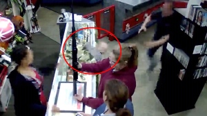 Store employee jumps into action to catch falling