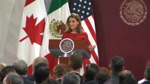 Deputy Prime Minister Chrystia Freeland speaks in Mexico City on Tuesday, Dec. 10, 2019 after a deal was struck on the new NAFTA.