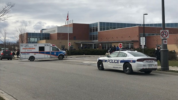 Emergency crews attend Castlebrooke Secondary School on Dec. 10 2019. (Ron Dhaliwal/CTV News Toronto)