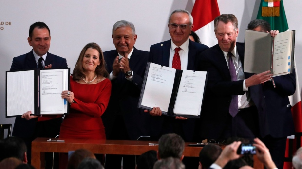 Mexico's Treasury Secretary Arturo Herrera, left, Deputy Prime Minister of Canada Chrystia Freeland, second left, Mexico's President Andres Manuel Lopez Obrador, center, Mexico's top trade negotiator Jesus Seade, second right, and U.S. Trade Representative Robert Lighthizer, hold the documents after signing an update to the North American Free Trade Agreement, at the national palace in Mexico City, Tuesday, Dec. 10. 2019. (AP Photo/Marco Ugarte)