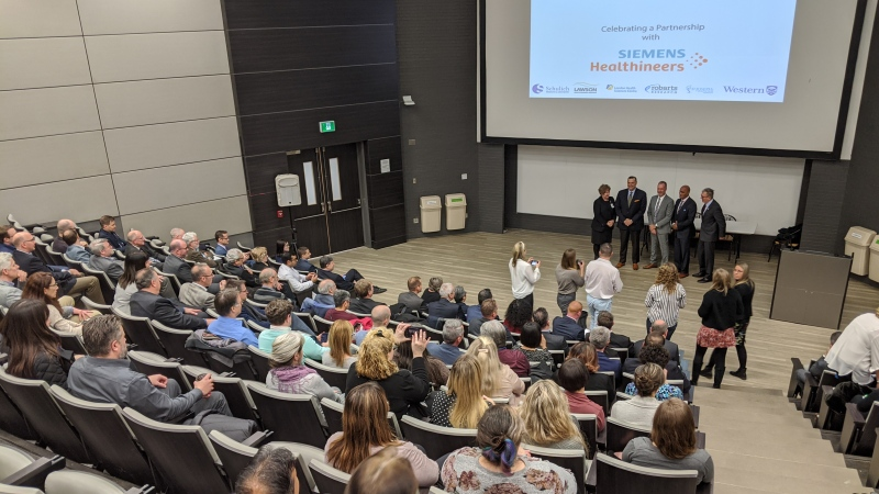 A new partnership is announced in the health care community in London, Ont., on Tuesday, Dec. 10, 2019. (Joel Merritt / CTV London)