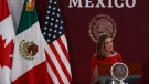 Deputy Prime Minister of Canada Chrystia Freeland speaks during an event to sign an update to the North American Free Trade Agreement, at the national palace in Mexico City, Tuesday, Dec. 10. 2019. (AP Photo/Marco Ugarte)