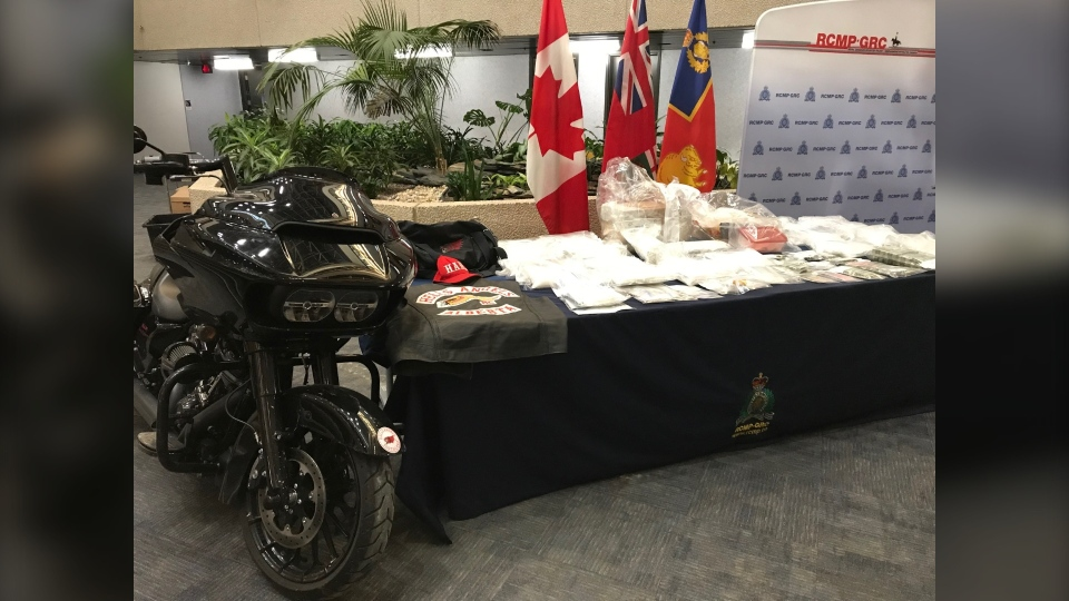 On Dec. 10, 2019, Manitoba RCMP show a number of items seized in the largest meth busts in the history of Manitoba. (Source: Josh Crabb/ CTV News Winnipeg)