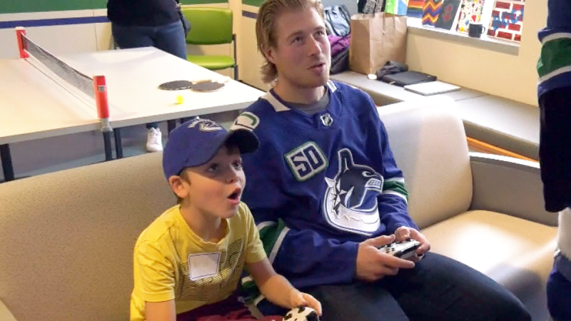 Canucks play at BC Children's Hospital