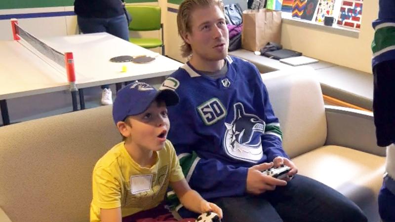 Canucks play at BC Children's Hospital