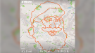 A U.K. cyclist is using the GPS-tracking feature of athletics app Strava to draw out Christmas-themed images for the holidays over the streets of London. (Strava)