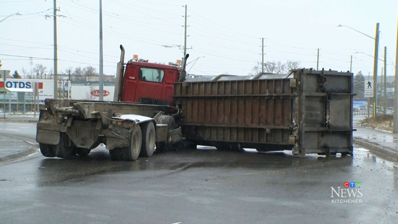 Truck rollover causes diesel spill in Kitchener