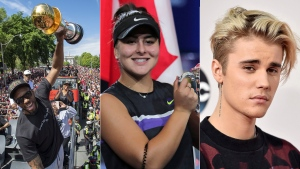 Kawhi Leonard, Bianca Andreescu and Justin Bieber are seen in this composite image.