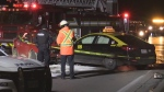 A collision on the Bradley Avenue overpass in London, Ont. injures two people on Tuesday, Dec. 11, 2019. (Daryl Newcombe / CTV London)