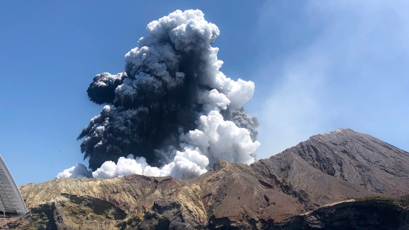In this Monday, Dec. 9, 2019, file photo provided by Lillani Hopkins, shows the eruption of the volcano on White Island off the coast of Whakatane, New Zealand. (Lillani Hopkins via AP)