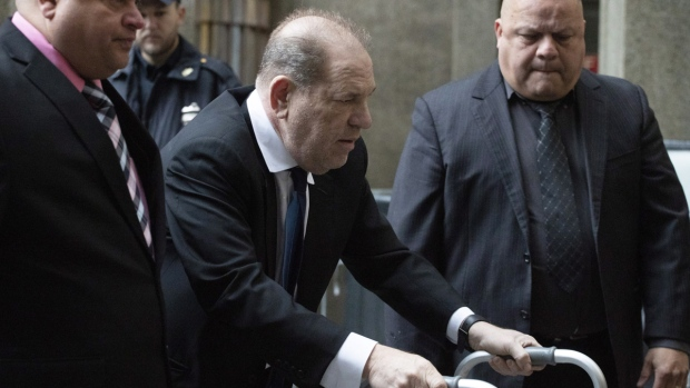 Harvey Weinstein, centre, arrives for a court hearing in New York, on Dec. 11, 2019. (Mark Lennihan / AP)