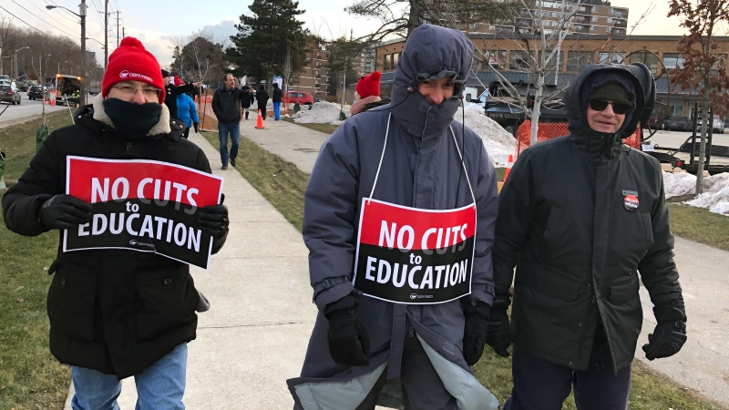 Education workers are seen during a one-day strike in Ontario on Dec. 11, 2019. (CTV News Toronto / Carol Charles)