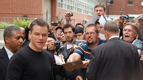 Matt Damon went beyond the call of duty in spending time with fans who had staked him out at hotel entrance. (Josh Visser/CTV.ca)