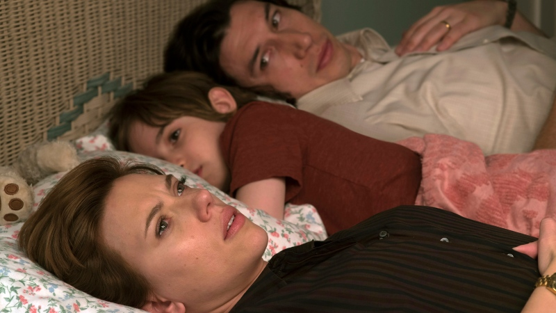 "This image released by Netflix shows Scarlett Johansson, left, and Adam Driver in ""Marriage Story."" (Netflix via AP)"