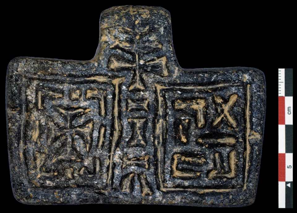 Christian stone pendant found in the basilica