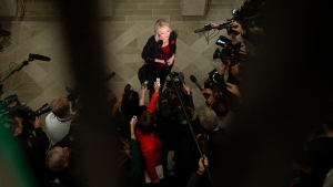 Conservative MP Candice Bergen speaks to reporters before attending a caucus meeting on Parliament Hill in Ottawa, on Wednesday, Nov. 6, 2019. THE CANADIAN PRESS/Justin Tang